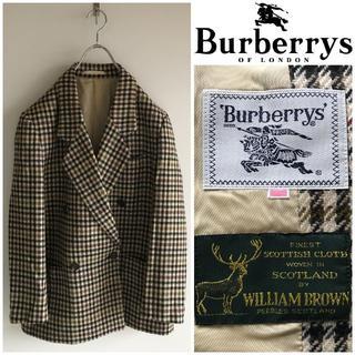 バーバリー(BURBERRY)の希少 オールドバーバリー 英国製生地使用 千鳥格子 ツイードダブルブレザー(テーラードジャケット)