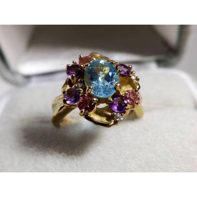 大特価 K18 マルチカラーリング ブルー トパーズ ダイヤ レディースのアクセサリー(リング(指輪))の商品写真