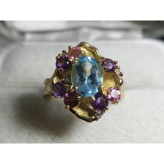 大特価 K18 マルチカラーリング ブルー トパーズ ダイヤ(リング(指輪))