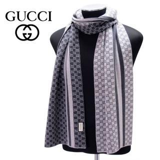 グッチ(Gucci)の【11】GUCCI マフラー/ストール 男女兼用 グレー×グレー(マフラー)