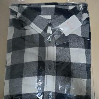 テットオム(TETE HOMME)のレギュラーカラー チェック柄 長袖シャツ / ネルシャツ 白×黒(シャツ)