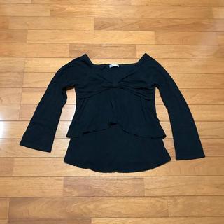 ザジ(ZAZIE)のZAZIE トップス ブラック サイズ38 日本製(カットソー(長袖/七分))