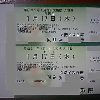 大相撲初場所 5日目 1/17(木)イス B席 2枚セット(相撲/武道)