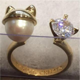 ツモリチサト(TSUMORI CHISATO)のツモリチサト 新品 指輪 リング パール 猫 キラキラダイヤ(リング(指輪))