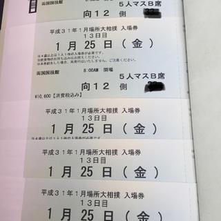 大相撲1月場所  1月25日(金)  13日目  5人マスB 向12側チケット(相撲/武道)