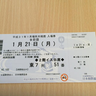 大相撲初場所1/21金9日目イスB席(相撲/武道)