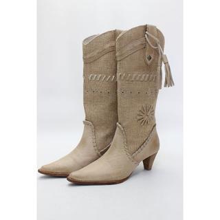 アトリエブルージュ(atelier brugge)のアトリエブルージュ 本革コンビ素材ブーツ(23.5cm)美品(ブーツ)