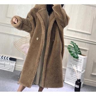 天然羊毛テディベア ロングコート(毛皮/ファーコート)