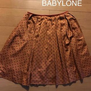 バビロン(BABYLONE)のBABYLONE プリーツスカート オレンジ ドット 水玉(ひざ丈スカート)
