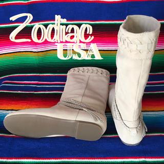 ゾディアック(ZODIAC)のZodiacゾディアックUS限定スウェードブーツus7.5 24.5cmホワイト(ブーツ)