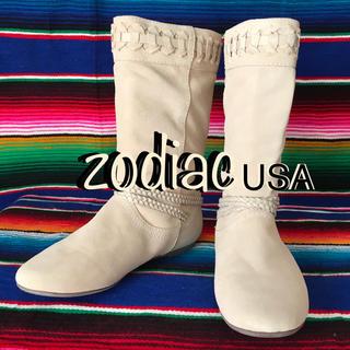 ゾディアック(ZODIAC)のZodiacゾディアックUS限定スウェードブーツus7  24.0cm ホワイト(ブーツ)