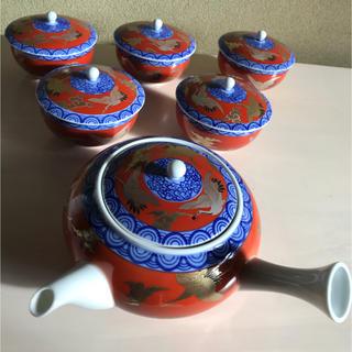 ハサミ(HASAMI)の深川 製磁 染錦手波鶴紋 茶器揃 茶器セット(食器)