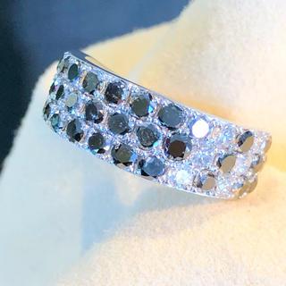リモ様専用✨ブラック×ホワイト✨シック❣️ ダイヤ K18WG リング 指輪(リング(指輪))