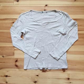 ユニクロ(UNIQLO)の※難あり UNIQLO カットソー (XL アイボリー)(Tシャツ(長袖/七分))
