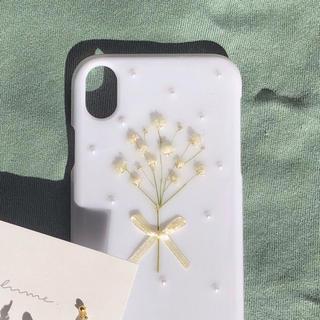 ロキエ(Lochie)のiPhone XR ケース ホワイト かすみ草(スマホケース)