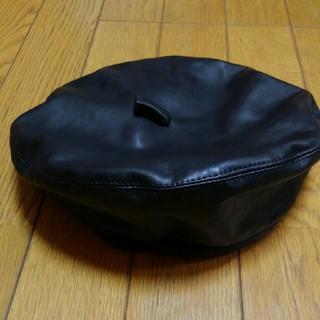 ザラ(ZARA)のZARAフェイクレザーベレー帽❤56センチ(ハンチング/ベレー帽)
