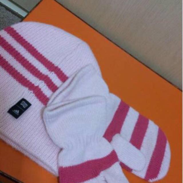 adidas(アディダス)の美品本物アディダスのピンク系のニット帽と手袋  女性フリー  レディースの帽子(ニット帽/ビーニー)の商品写真