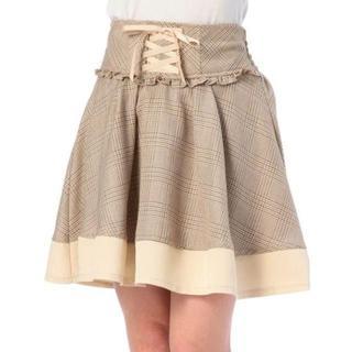 リズリサ(LIZ LISA)のLIZ LISA☆新品♪Tralala*無地切替グレンチェック柄フレアスカート(ひざ丈スカート)