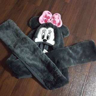 ディズニー(Disney)のミニーちゃんマフラー付き帽子(マフラー/ストール)