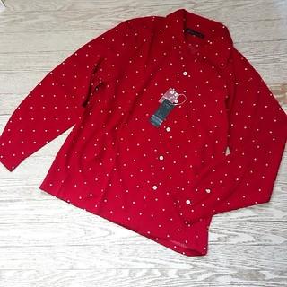 テットオム(TETE HOMME)の☆新品メンズ開襟シャツドット柄Mサイズ赤系(シャツ)