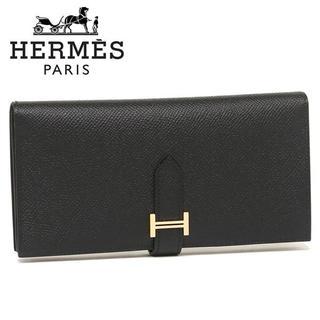 エルメス(Hermes)のHERMESベアンスフレ ブラック ゴールド金具 長財布 [C刻印(18年製)](財布)