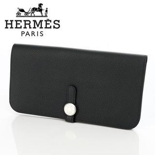 エルメス(Hermes)のHERMES ドゴンロング ブラック×シルバー金具 トゴ C刻印長財布(長財布)