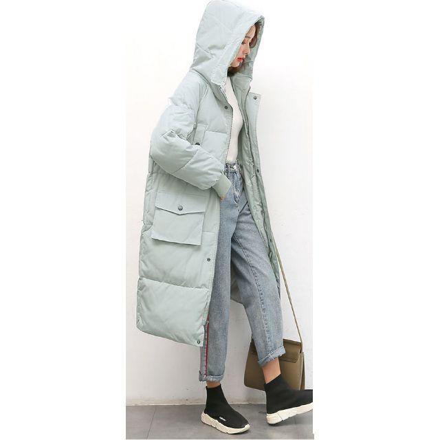 【即日出荷/送料無料]】ロングダウンコート ビッグシルエット ベンチコート XL レディースのジャケット/アウター(ダウンコート)の商品写真