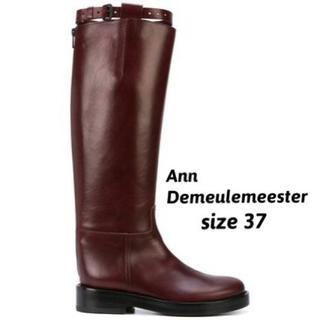 アンドゥムルメステール(Ann Demeulemeester)のann demeulemeester 定番 乗馬 ロングブーツ ブラウン(ブーツ)