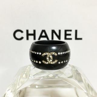 シャネル(CHANEL)の正規品 シャネル 指輪 ココマーク ラインストーン エタニティ 石 黒 リング(リング(指輪))