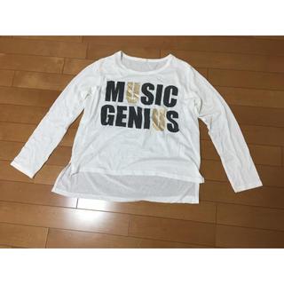 ジーユー(GU)の白 トップス L 長袖 Tシャツ(Tシャツ(長袖/七分))
