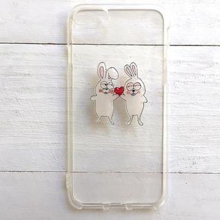うさぎとキラキラハート  スマホケース  iPhone8  全機種対応(スマホケース)