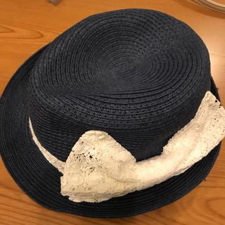 ジーユー(GU)のGU、麦わら帽子、ネイビー色、子供(帽子)