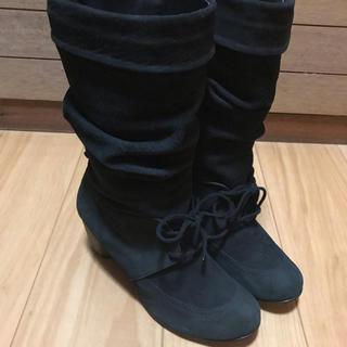 バークレー(BARCLAY)のBARCLAY FOOTART ブラック 24.5 スエード ブーツ 本革(ブーツ)