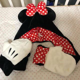 ディズニー(Disney)のディズニーランド もふもふフード 帽子 カチューチャ手袋耳ミニーちゃん(マフラー/ショール)
