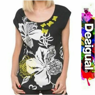デシグアル(DESIGUAL)のDesigual ブラック ハイビスカス柄 Tシャツ(Tシャツ(半袖/袖なし))