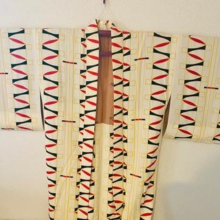 フリフ(ふりふ)の正絹ちりめん羽織り👘オマケ付き👘着物👘作家物👘幾何学模様👘(着物)