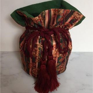 タケヤ(竹屋)の和装用バッグ 竹屋 ちりめん ストライプ花模様 巾着 着物 和装バッグ(和装小物)