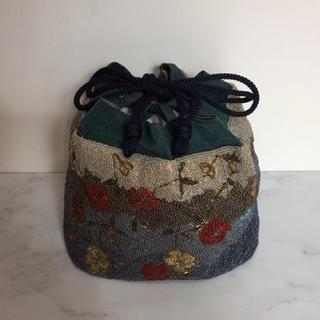 タケヤ(竹屋)の和装用バッグ 竹屋 ビーズ織り 巾着 花柄 着物 和装バッグ(和装小物)