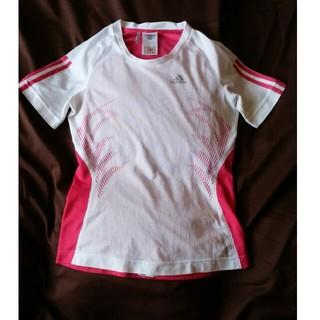 アディダス(adidas)の【値下げ】アディダス  白x 濃ピンク  Tシャツ XSサイズ(Tシャツ(半袖/袖なし))