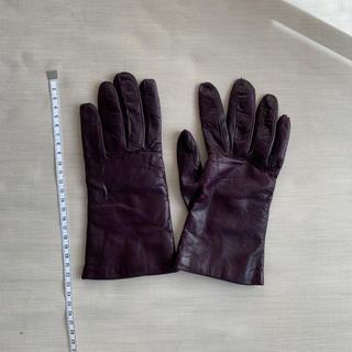 バーニーズニューヨーク(BARNEYS NEW YORK)のsermoneta gloves 紫 手袋 レザー カシミア サイズ7(手袋)
