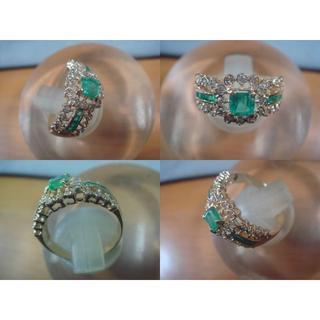 ☆K18エメラルドダイヤファッションリング☆USED品(中古品)☆(リング(指輪))