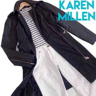 カレンミレン(Karen Millen)のカレンミレン 英国製 エコレザー ナイロン お洒落 コート ブラック(ロングコート)