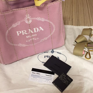 プラダ(PRADA)のPRADA カナパ アルバストロ ピンク S クリーニング済(トートバッグ)