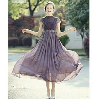 ■大人気■!パープルロングワンピース 花柄 刺繍 フリル ドレス