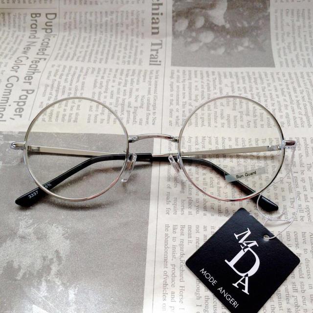 ラウンド伊達メガネ/シルバー レディースのファッション小物(サングラス/メガネ)の商品写真