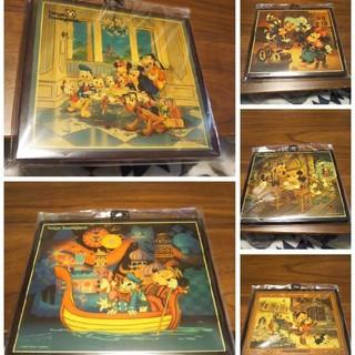 ディズニー(Disney)の【レア品】ディズニー 木製 壁掛け 飾り  5個セット(インテリア雑貨)