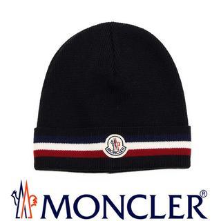 モンクレール(MONCLER)の専用 26 MONCLER ブラック トリコロール ニットキャップ/ニット帽(ニット帽/ビーニー)