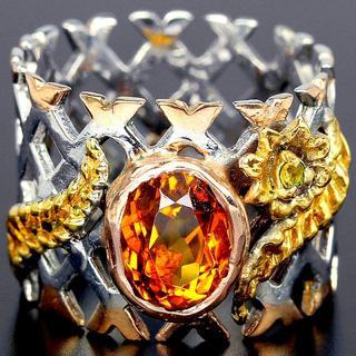 新品 ★鑑別書付★14号 1点物 3ct天然オレンジシトリン 希少 指輪(リング(指輪))