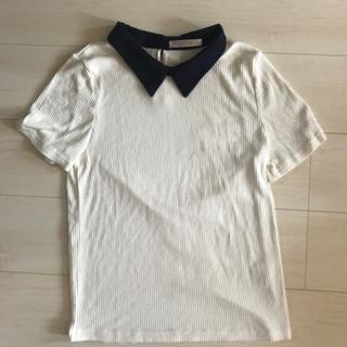 スズタン(suzutan)のTシャツ カットソー 白 紺 襟 オフホワイト SUZUTAN スズタン(Tシャツ(半袖/袖なし))