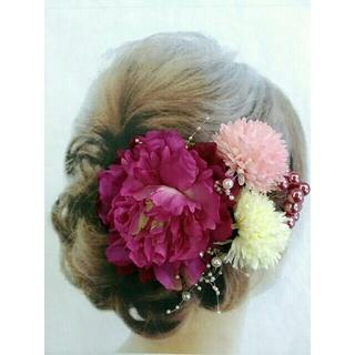 髪飾り 4点セット ●紫系ピンクピオニーコサージュ (着物)